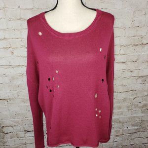 Abound Distressed Front Crew Neck Sweater L NWT